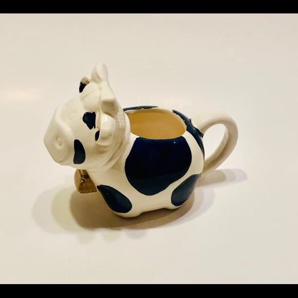 Vintage Milk Pot Cow with Bow ceramic rare